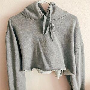 Tops - grey cropped hoodie